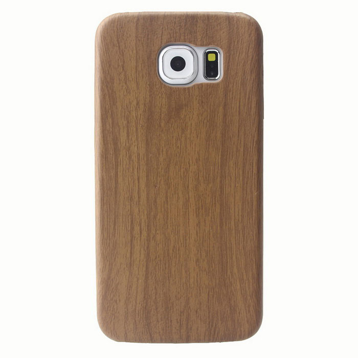 MO.MAT Wood Grain PU Leather Back Case for Samsung Galaxy S6 - Brown