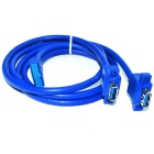 USB3.0 19Pin Male to Dual Port Standard A Female w/ Screw Hole Data Cable - Sky Blue (0.8m)