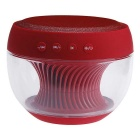 Portable Colorful LED Wireless Bluetooth V2.1 Speaker w/ Mic. / FM / TF / USB / Hands-free - Red