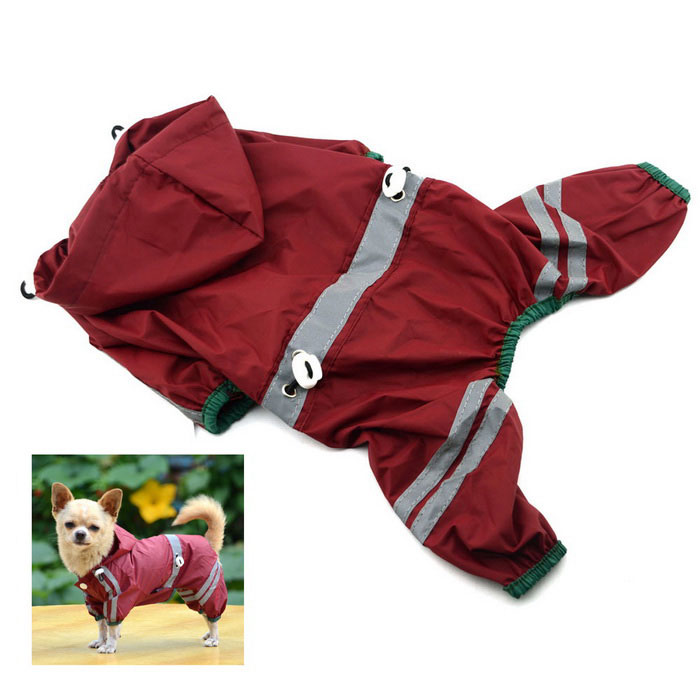 Glisten Bar Hoody Waterproof Raincoat Pet Raincoat Dog Cat Rain Jackets - Red (M)(SKU 420052)