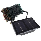 3.7V Solar Powered Colorful 200-LED String Light w/ USB Cable - Black