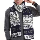 Fashionable Snowflake & Lattice Pattern Scarf - Navy Blue