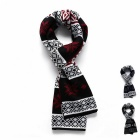 Fashionable Snowflake & Lattice Pattern Scarf - Black + Red