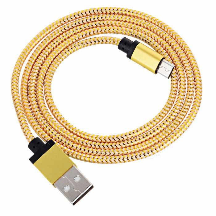 USB to Micro USB Reflective Data Charging Cable - Golden (98cm)