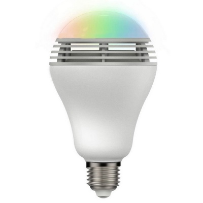 E27 6W Bluetooth Color Changing LED Light Bulb w/ Speaker - White