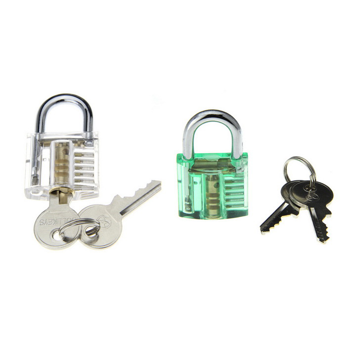 Mini Inside-View Skill Training Practice Padlock Lock Tool (2PCS)Locksmith Supplies<br>ModelN/AQuantity1 DX.PCM.Model.AttributeModel.UnitForm  ColorOthers,Transparent + greenMaterialABS + stainless steelPacking List2 x Locks (with 4 keys)<br>