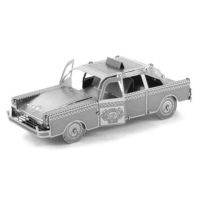 Metallic Steel Nano 3D Puzzle DIY Jigsaw No Glue Taxi - Silver