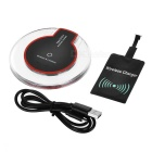 Qi Wireless Charger + Receiver for Android Phones - Red + Transparent