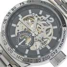 IK Stainless Steel Self-Winding Mechanical Wristwatch (Black + Silver)
