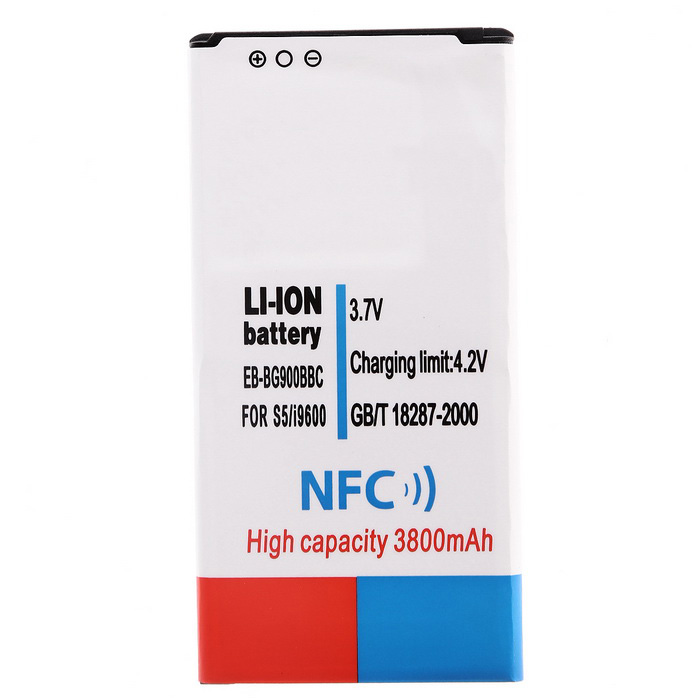 "Cwxuan Replacement 3.7V ""3800mAh"" Li-ion Battery w/ NFC for Samsung Galaxy S5 i9600 - White"