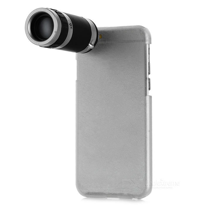 8X Telescope Lens w/ Back Case for IPHONE 6 / 6S - Transparent + Black