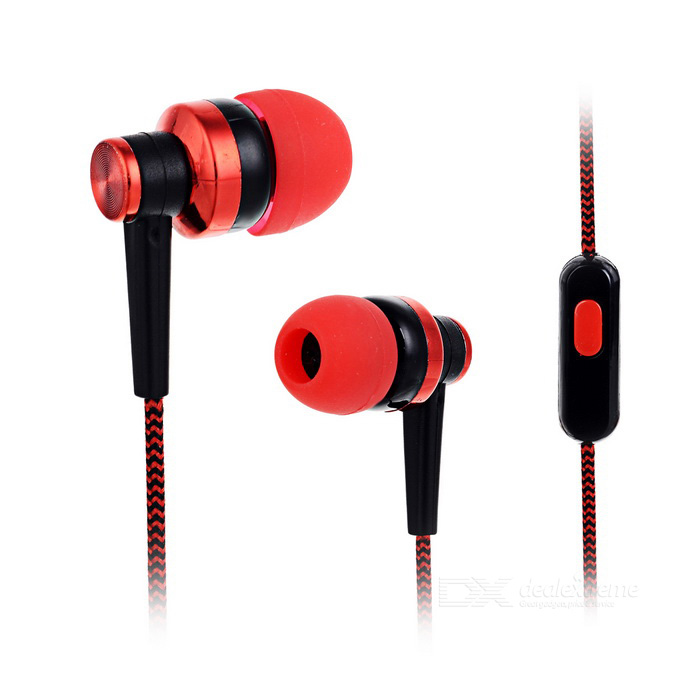 3.5mm Earphone w/ Mic for Samsung / IPHONE + More - Red + Black