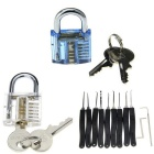Mini Inside-View Pick Skill Training Padlocks Locks + Lock Picks Set