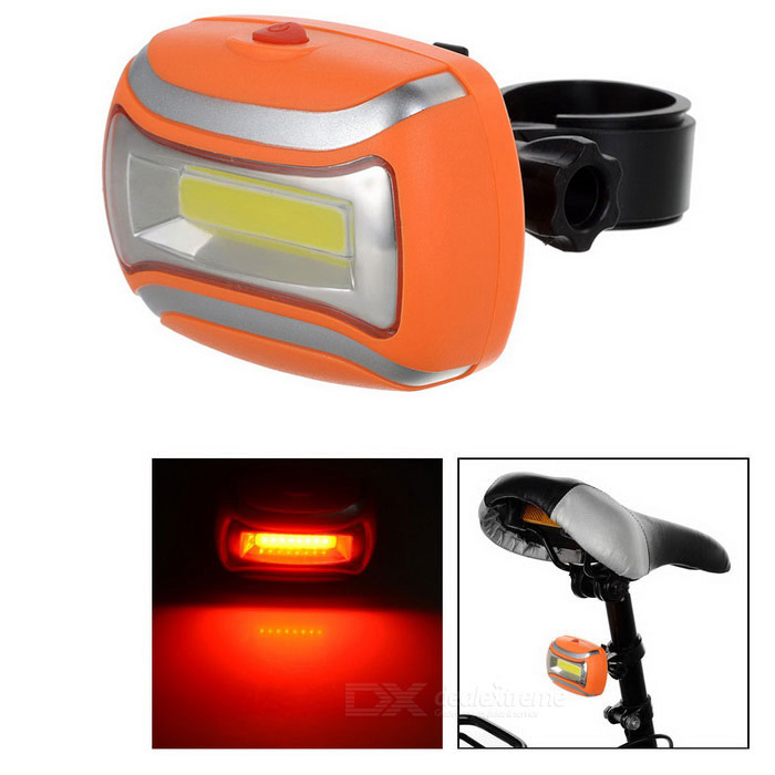 Bicycle COB 3-Mode Red + White Light Lamp w/ Clip - Orange + Silver