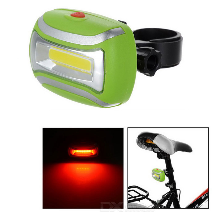 Bicycle COB 3-Mode Red + White Light Lamp w/ Clip - Green + Silver