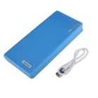 DIY Dual USB 6 Battery Slot Case Cover w/ LED Indicator for 18650 Mobile Power - Blue