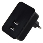 Double USB Ports Simultaneous Charging EU Plug Smart Phone Charging Adapter - Black