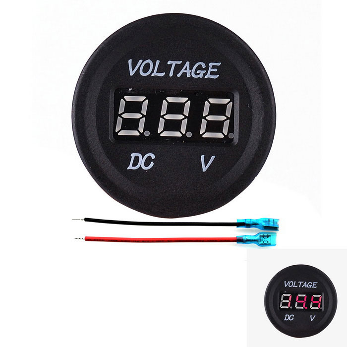 IZTOSS Voltmeter Red LED Display for Autos, Motorcycle - Black