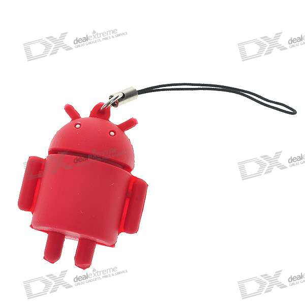 все цены на Cute Android Robot Cell Phone Strap - Red онлайн