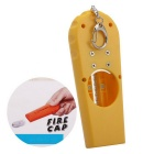 Flying Cap Beer Bottle Opener w/ Key Ring - Yellow