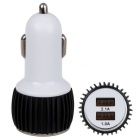 Car 2.1A (Max) Dual USB Power Adapter - Black + White (12~24V)