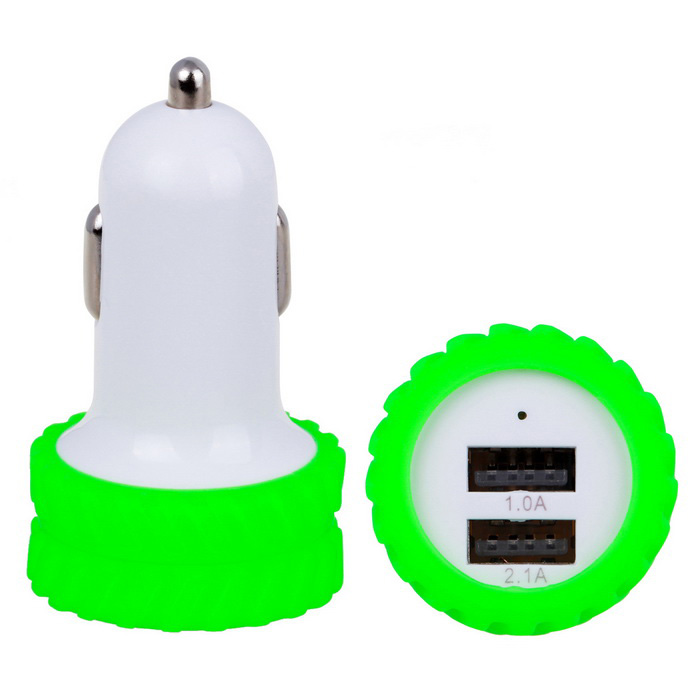 Car Cigarette Lighter 2.1A Dual USB Charger - Green (12~24V)Car Power Chargers<br>Form  ColorGreen + WhiteModelN/AQuantity1 DX.PCM.Model.AttributeModel.UnitMaterialAluminum + ABSShade Of ColorGreenInput Voltage12~24 DX.PCM.Model.AttributeModel.UnitOutput Voltage5 DX.PCM.Model.AttributeModel.UnitOutput Current2.1/1 DX.PCM.Model.AttributeModel.UnitInterfaceUSBApplicationLow-power devices simultaneouslyPacking List1 x Car charger<br>