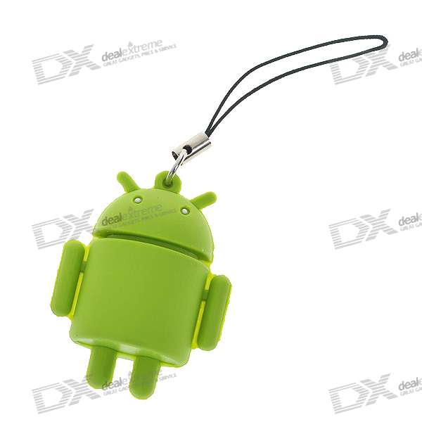 Cute Android Robot Cell Phone Strap - Green