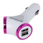 4-USB Car Y-type Smart Power Adapter Charger - Purple + White (12~24V)