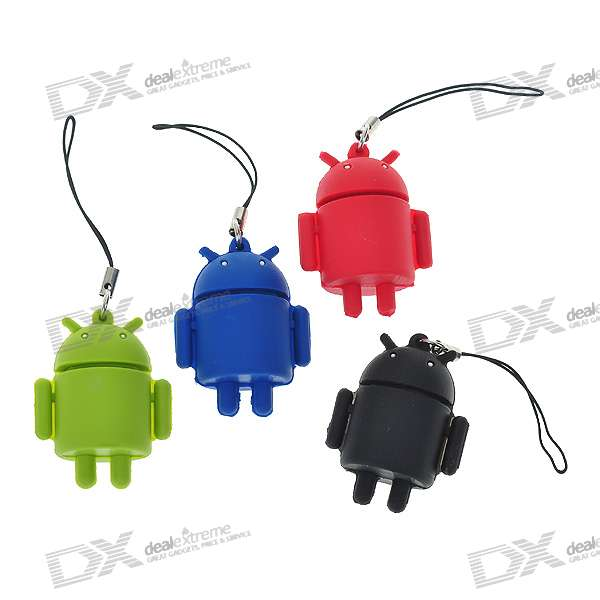 Cute Android Robot Cell Phone Strap Set (4-Pack)