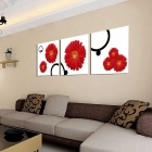 "Bizhen Frame-free Red flower Painting Canvas Wall Decor Murals 3 Panels (59.06"" x 19.69"")"
