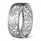 Xinguang Women's Beautiful Simple Hollow Rose Style Alloy Bracelet - Silver
