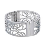 Xinguang Women's Beautiful Hollow Rose Style Alloy Bracelet - Silver