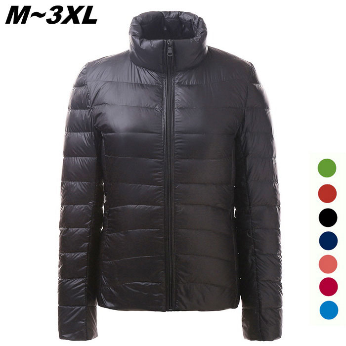 Womens Ultra Light Thin Down Jacket Coat - Black (XL)Jackets and Coats<br>Form ColorBlackSizeXLQuantity1 DX.PCM.Model.AttributeModel.UnitShade Of ColorBlackMaterialFace &amp; Lining: 100% Polyester; Filling: 90% Down,10% PolyesterStyleFashionShoulder Width40 DX.PCM.Model.AttributeModel.UnitChest Girth102 DX.PCM.Model.AttributeModel.UnitWaist Girth96 DX.PCM.Model.AttributeModel.UnitSleeve Length61 DX.PCM.Model.AttributeModel.UnitTotal Length61 DX.PCM.Model.AttributeModel.UnitSuitable for Height165 DX.PCM.Model.AttributeModel.UnitPacking List1 x Coat<br>