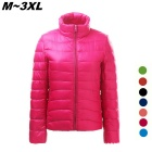 Women's Ultra Light Thin Down Jacket Coat - Deep Pink (XXL)