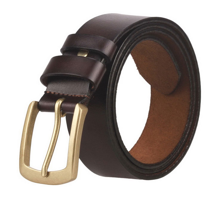 Fanshimite ZK01 Men's Pin Buckle Leather Belt - Brown (115cm)