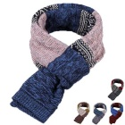 Hit Color National Style Knitwear Scarf - Blue + Pink
