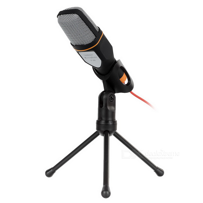 Condenser Microphone w/ Holder for Laptop / Desktop - Black + OrangeMicrophones<br>Form  ColorOrange + Black + Multi-ColoredQuantity1 DX.PCM.Model.AttributeModel.UnitShade Of ColorOrangeMaterialABSInterface3.5mmPowered ByOthers,3.5mm interface poweredMicrophone Frequency Response50Hz-16KHzSensitivity-55dB±2dBMic Polar PatternsOmnidirectionalImpedancePacking List1 x Microphone (175cm cable)1 x Holder<br>