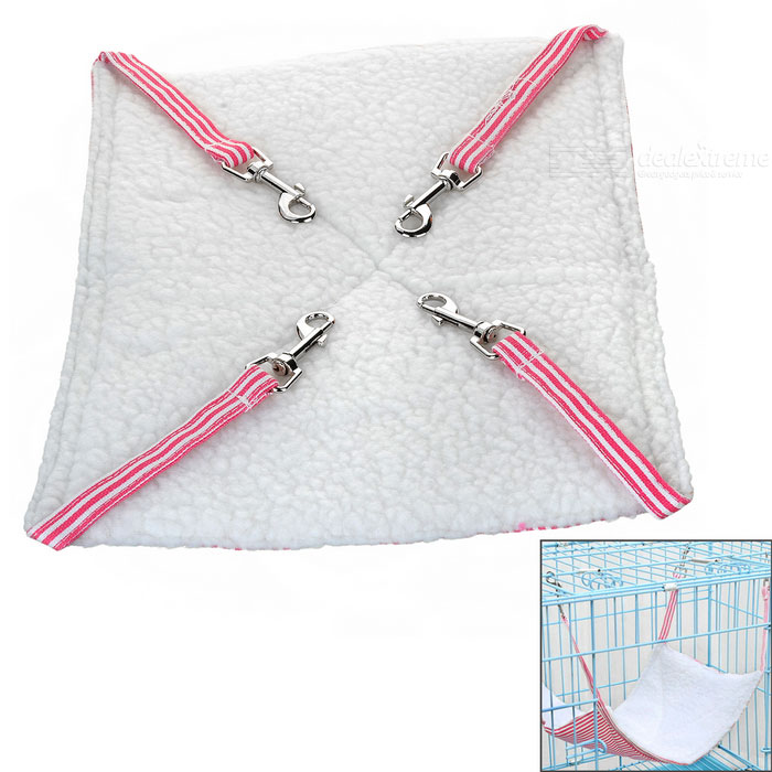 Small Soft Canvas Pet Hammock for Pet Cat - Pink + WhiteOther Supplies<br>Form  ColorPink + WhiteMaterialWool + canvasQuantity1 DX.PCM.Model.AttributeModel.UnitSuitable ForCatPacking List1 x Pet hammock<br>