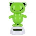 Solar Powered Cute Dancing Frog Home Desk Table Decoration Car Decor - Green + White