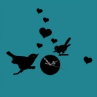 CY068Z Bird Decoration 3D Acrylic Sitting Room Movable Mirror Wall Clock Sticker - Black