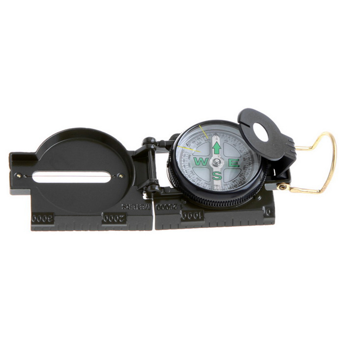 Mini Militär Camping Marching Lensatic Compass Magnifier - Army Grön
