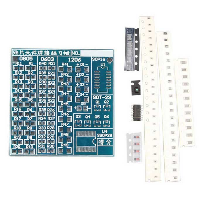 SMT SMD Component Welding Practice PCB Board DIY Kits for ArduinoKits<br>Form ColorBlue + Silver + Multi-ColoredModelN/AQuantity1 PieceMaterialPCBEnglish Manual / SpecNoPacking List1 x PCB board20 x 0805 resistors20 x 0603 resistors10 x 1206 resistors4 x 1206 diodes1 x 0805 LED6 x SOT23 triodes1 x SOP16 IC<br>