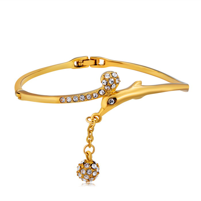 Xinguang Women's Dolphin & Balls Style Crystal Bracelet - Golden