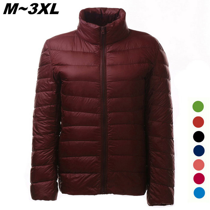 Womens Ultra Light Thin Down Jacket Coat - Wine Red (XXXL)Jackets and Coats<br>Form  ColorClaret RedSizeXXXLQuantity1 DX.PCM.Model.AttributeModel.UnitShade Of ColorRedMaterialFace &amp; Lining: 100% Polyester; Filling: 90% Down,10% PolyesterStyleFashionShoulder Width42 DX.PCM.Model.AttributeModel.UnitChest Girth110 DX.PCM.Model.AttributeModel.UnitWaist Girth104 DX.PCM.Model.AttributeModel.UnitSleeve Length63 DX.PCM.Model.AttributeModel.UnitTotal Length64 DX.PCM.Model.AttributeModel.UnitSuitable for Height175 DX.PCM.Model.AttributeModel.UnitPacking List1 x Coat<br>