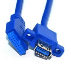 USB 3.0 19Pin to 1-Port Standard A Female Cable - Sky Blue (0.8m)