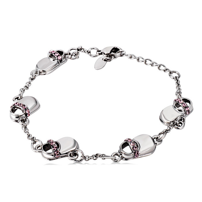 Xinguang Women's Purple Crystal Inlaid Bracelet - Silver
