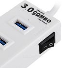 4-Port USB 3.0 HUB Card Reader Support TF / SD Card - White (Max. 1TB)