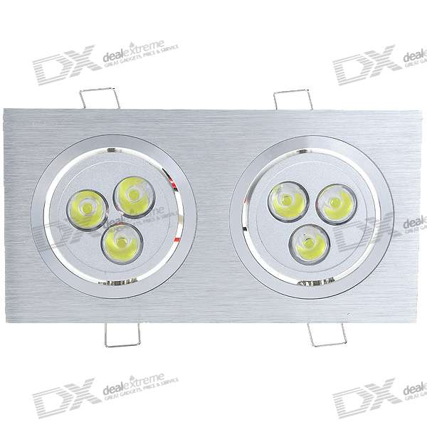 Dual Head 6W 6-LED 480-Lumen Warm White LED Ceiling Lamp/Down Light (100~265V)
