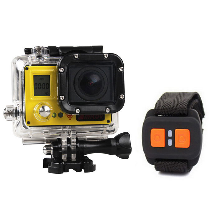 Amkov AMK7000S 4K 1080P 20MP Sport Camera w/ Remote Controller- Yellow