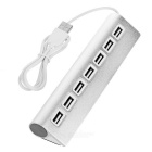 High Speed 7-Port USB2.0 Aluminium Alloy USB HUB Switch - Silver